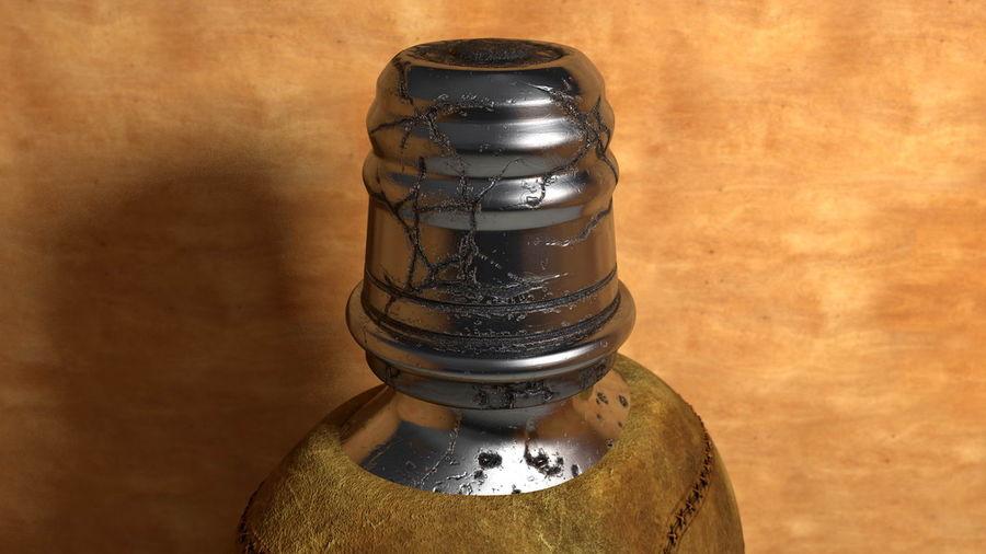 Vintage çizik yıpranmış metal içme şişe deri royalty-free 3d model - Preview no. 3