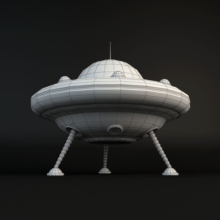Cartoon Flying Saucer royalty-free 3d model - Preview no. 11