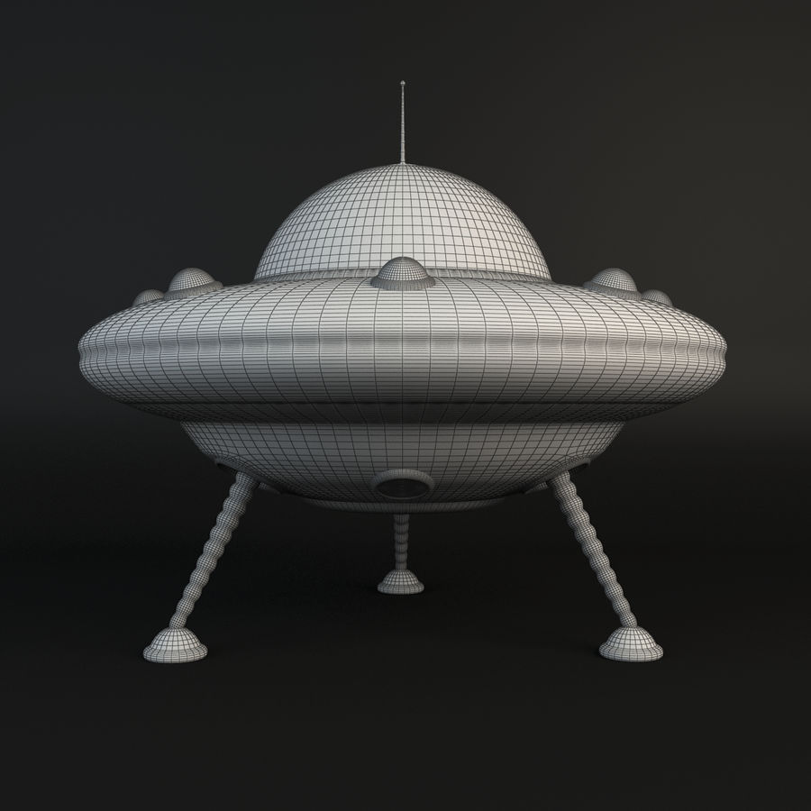 Cartoon Flying Saucer royalty-free 3d model - Preview no. 6