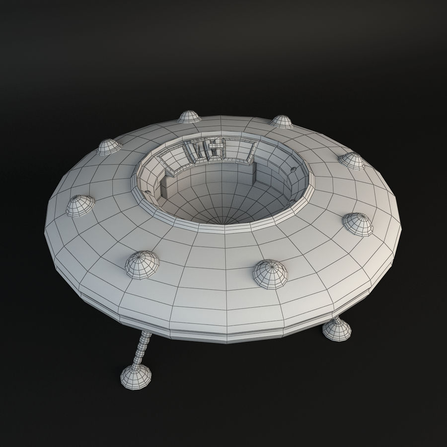Cartoon Flying Saucer royalty-free 3d model - Preview no. 8