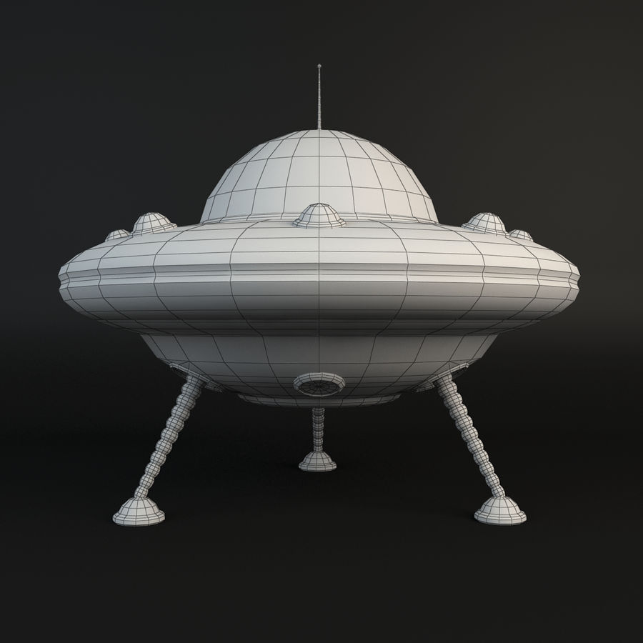 Cartoon Flying Saucer royalty-free 3d model - Preview no. 5