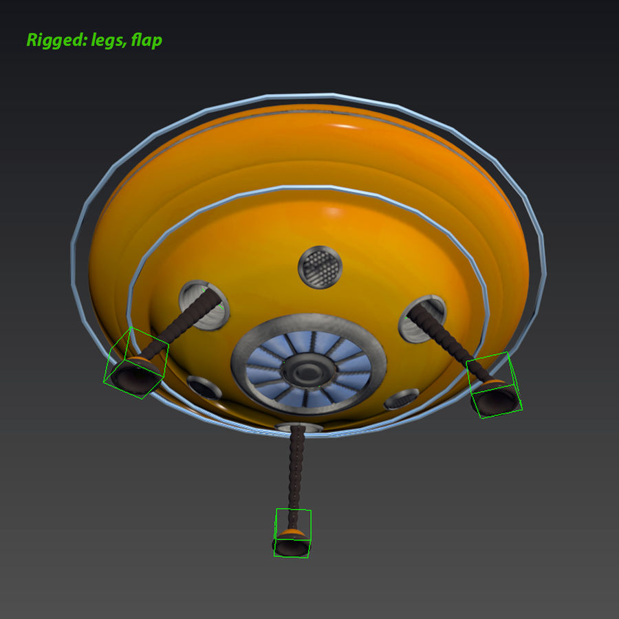 Cartoon Flying Saucer royalty-free 3d model - Preview no. 17