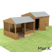 wooden shed + pergola 3d model