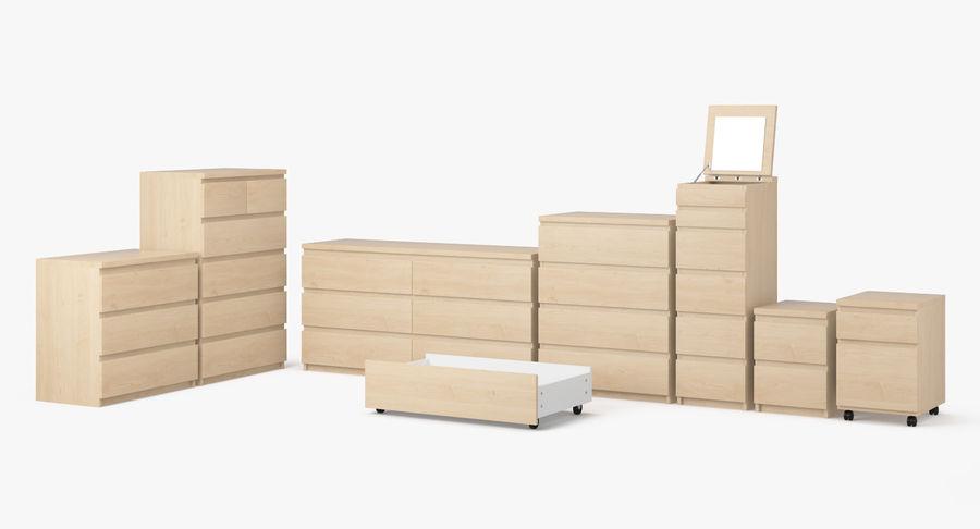 Zestaw szuflad Ikea Malm royalty-free 3d model - Preview no. 2