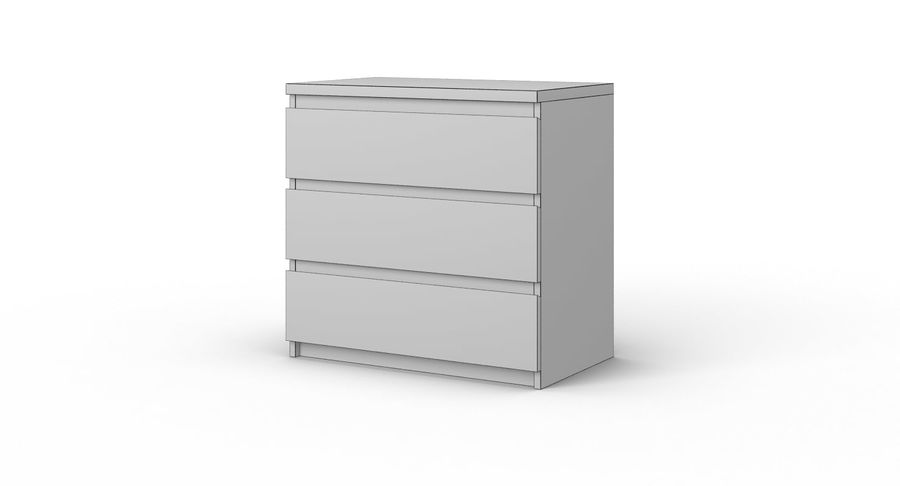 Zestaw szuflad Ikea Malm royalty-free 3d model - Preview no. 18
