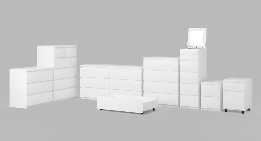 Zestaw szuflad Ikea Malm royalty-free 3d model - Preview no. 4