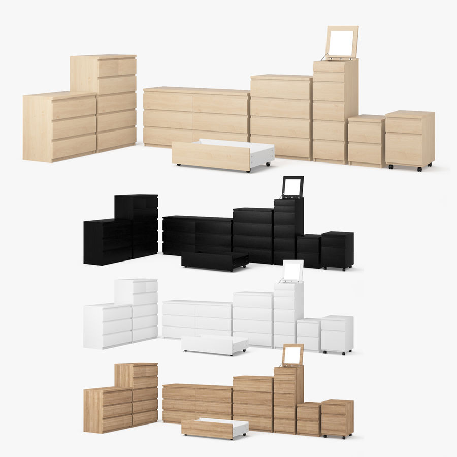 Zestaw szuflad Ikea Malm royalty-free 3d model - Preview no. 1