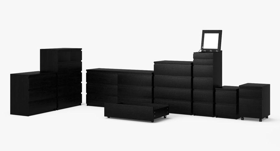 Zestaw szuflad Ikea Malm royalty-free 3d model - Preview no. 3