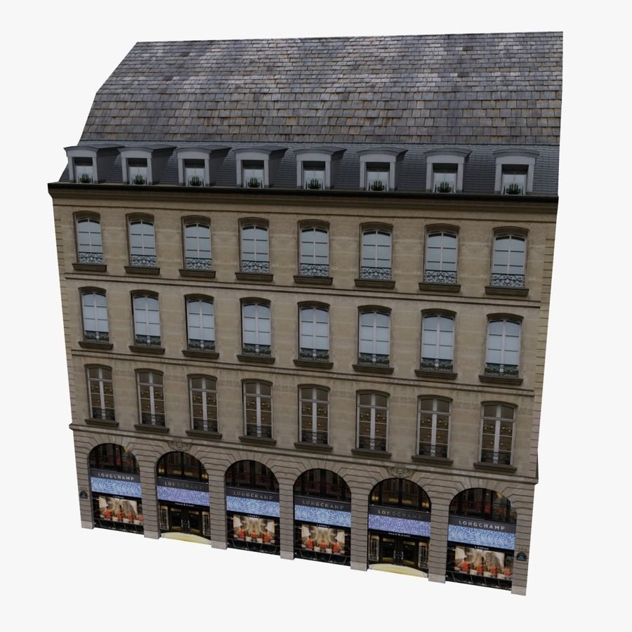Europees gebouw laag poly royalty-free 3d model - Preview no. 4