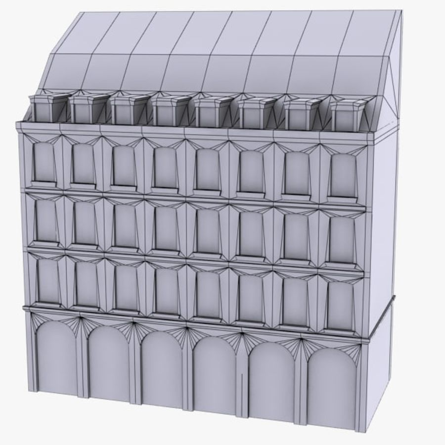 Europees gebouw laag poly royalty-free 3d model - Preview no. 10