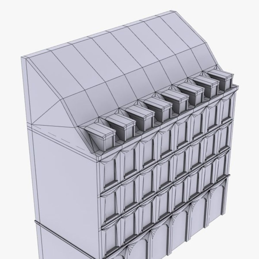 Europees gebouw laag poly royalty-free 3d model - Preview no. 11