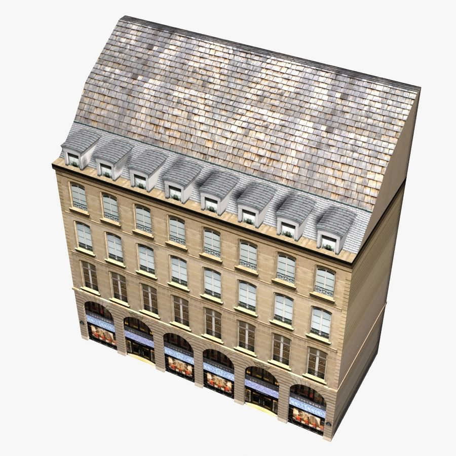 Europees gebouw laag poly royalty-free 3d model - Preview no. 2