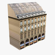 Europees gebouw laag poly 3d model