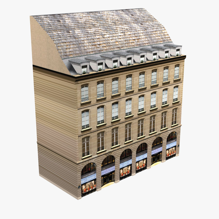 Europees gebouw laag poly royalty-free 3d model - Preview no. 1
