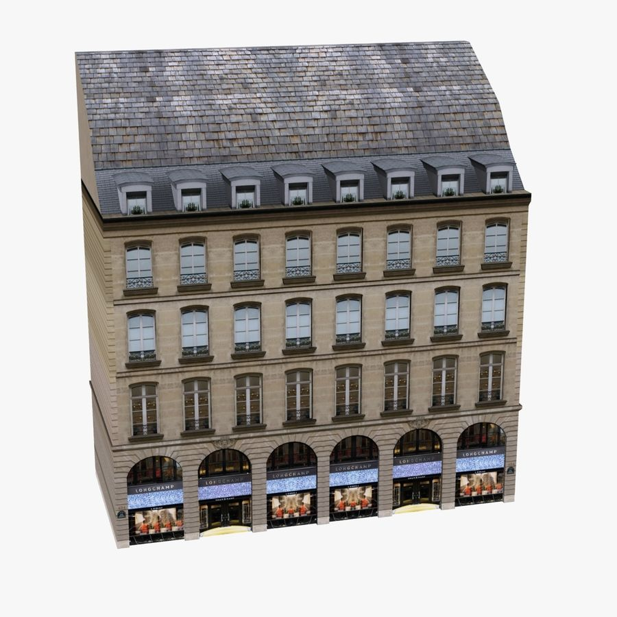 Europees gebouw laag poly royalty-free 3d model - Preview no. 5