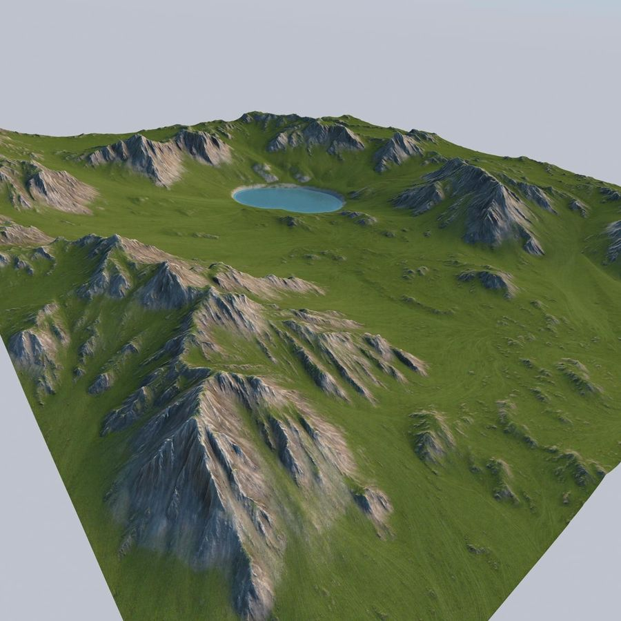 Berglandschaft royalty-free 3d model - Preview no. 3