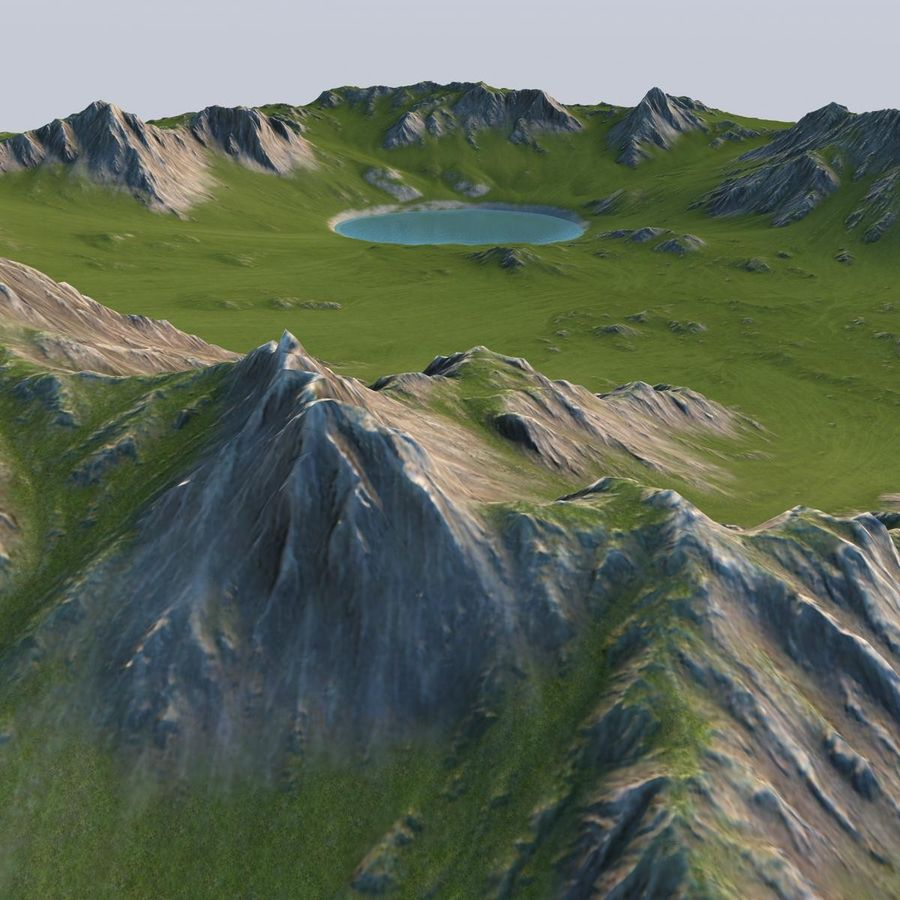 Berglandschaft royalty-free 3d model - Preview no. 4