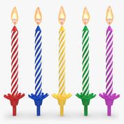 Födelsedagstearinljus med låga 3d model