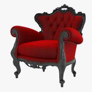 天鹅绒巴洛克椅子 3d model