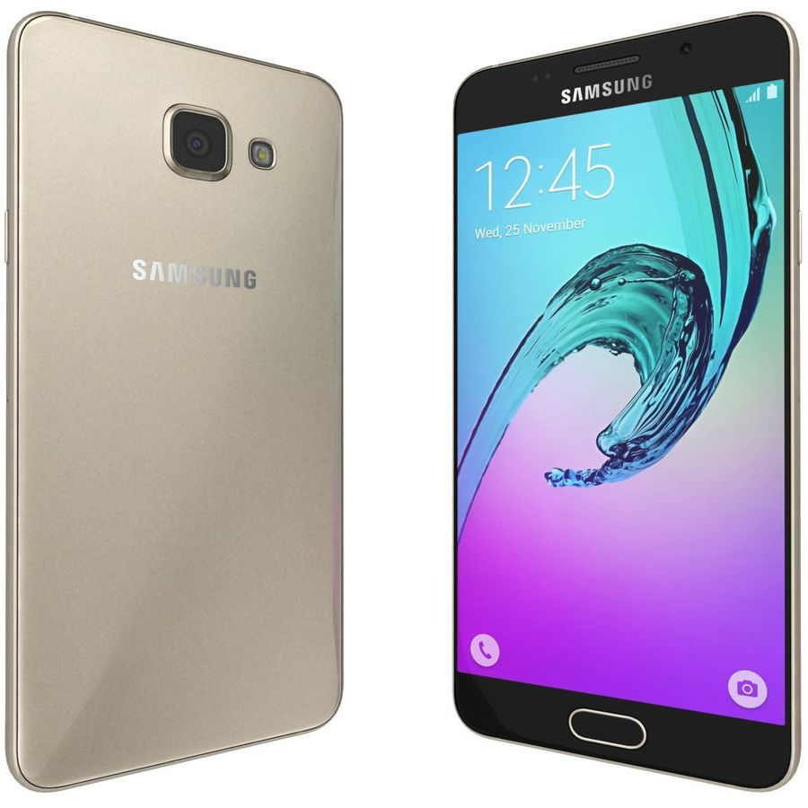 Samsung Galaxy A5 (2016) Guld royalty-free 3d model - Preview no. 4