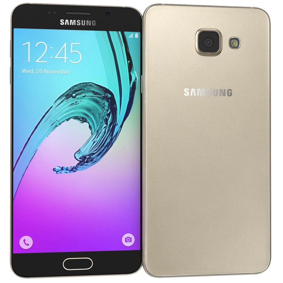 Samsung Galaxy A5 (2016) Guld royalty-free 3d model - Preview no. 2