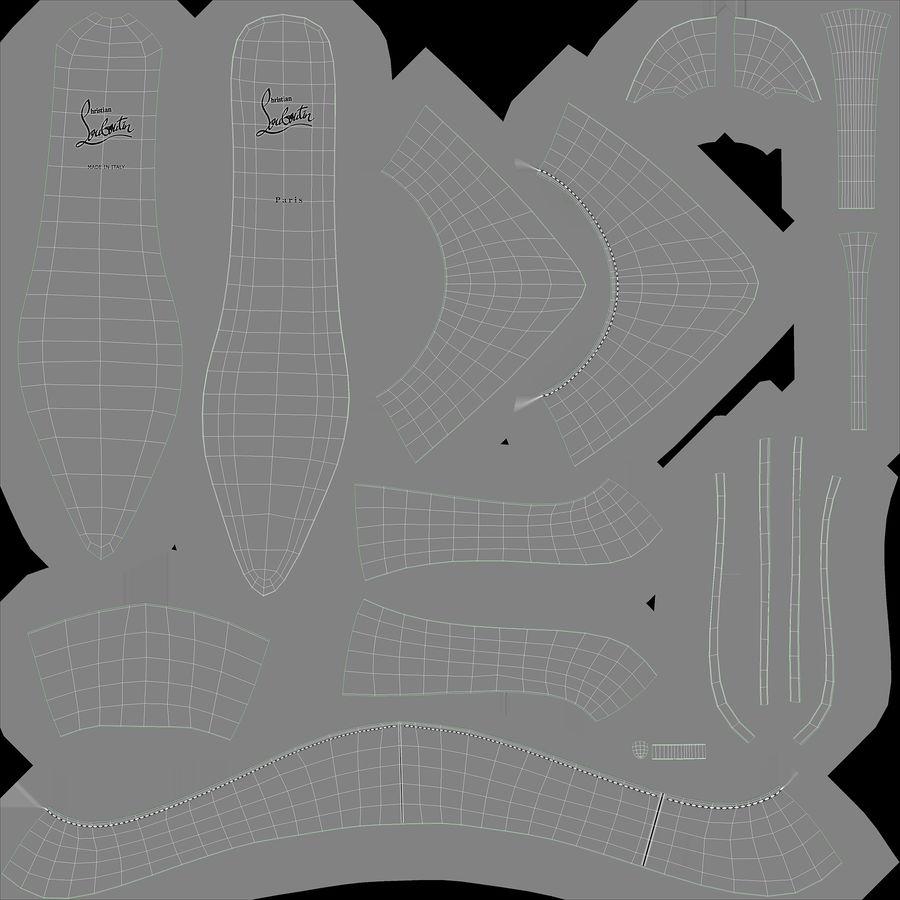黑人女鞋 royalty-free 3d model - Preview no. 30