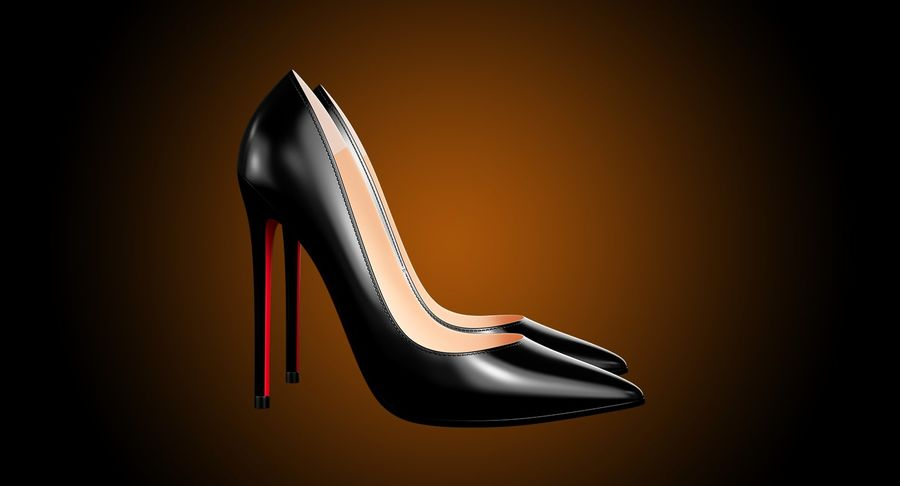 黑人女鞋 royalty-free 3d model - Preview no. 5
