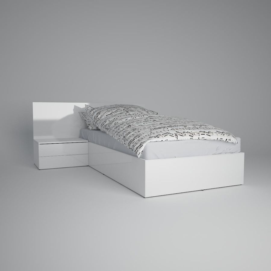 Realistic Bed 08 royalty-free 3d model - Preview no. 15