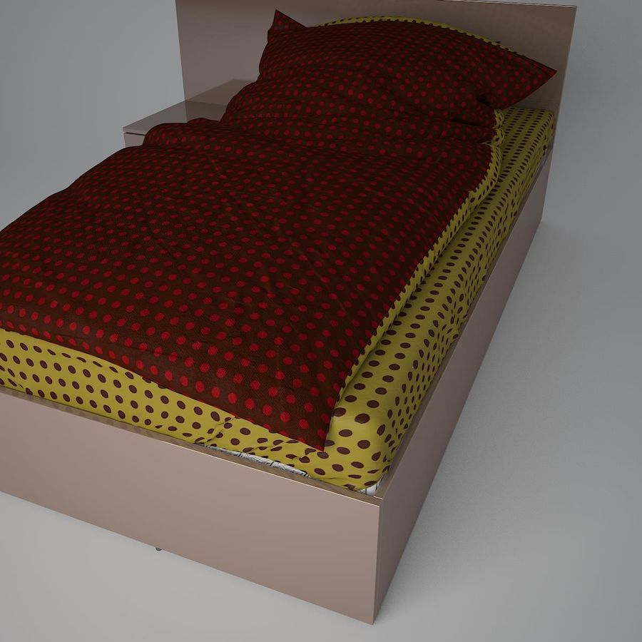 Realistic Bed 08 royalty-free 3d model - Preview no. 7