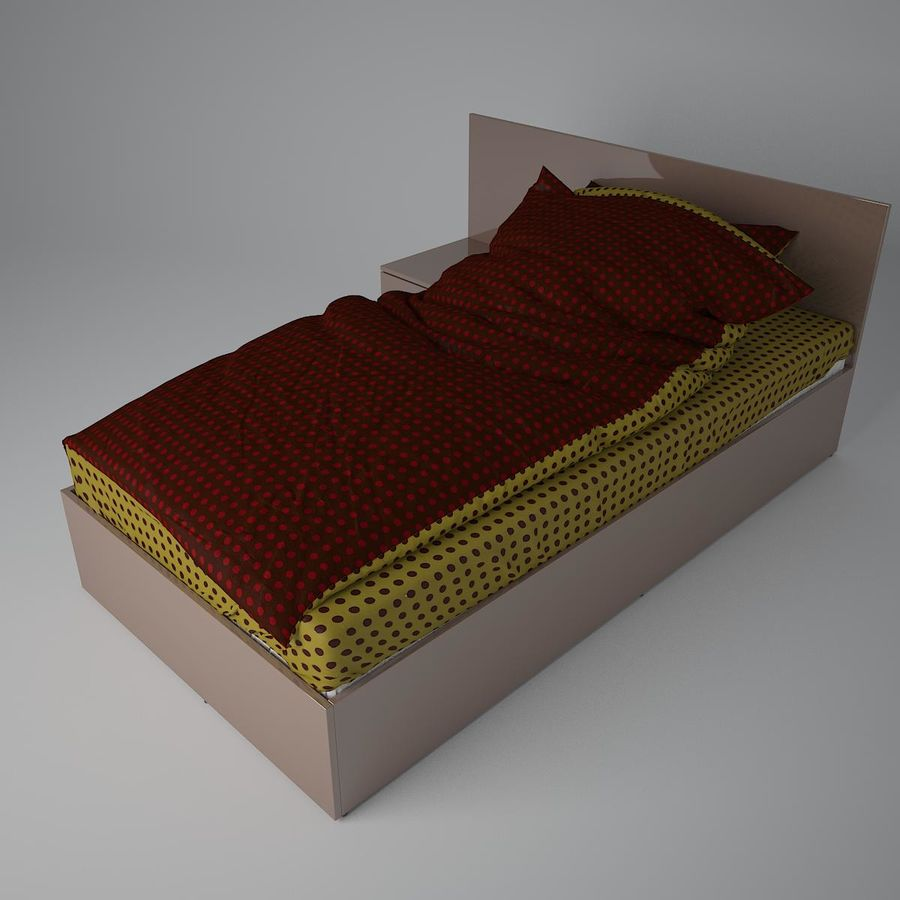 Realistic Bed 08 royalty-free 3d model - Preview no. 8