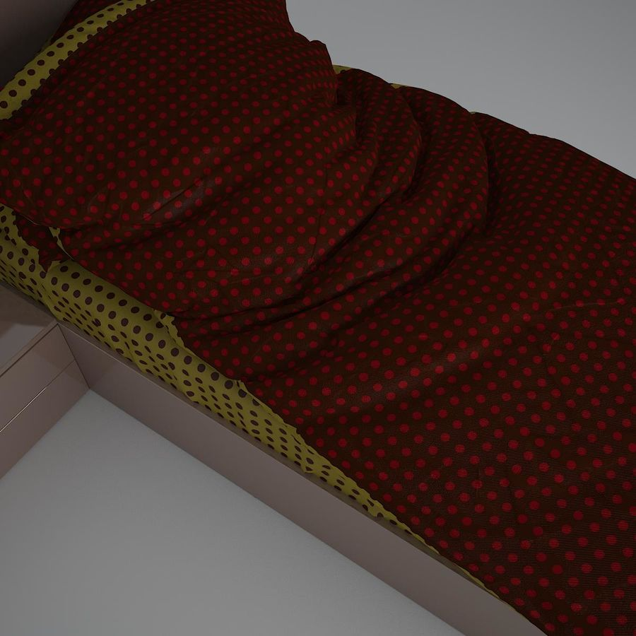 Realistic Bed 08 royalty-free 3d model - Preview no. 4