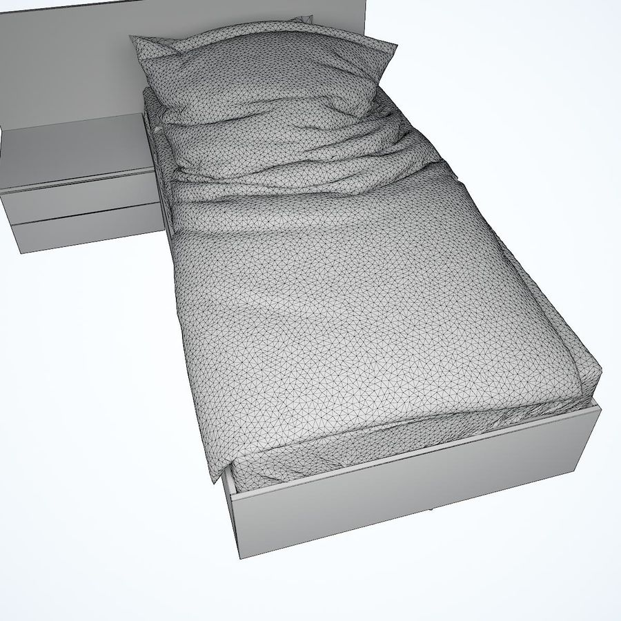 Realistic Bed 08 royalty-free 3d model - Preview no. 24