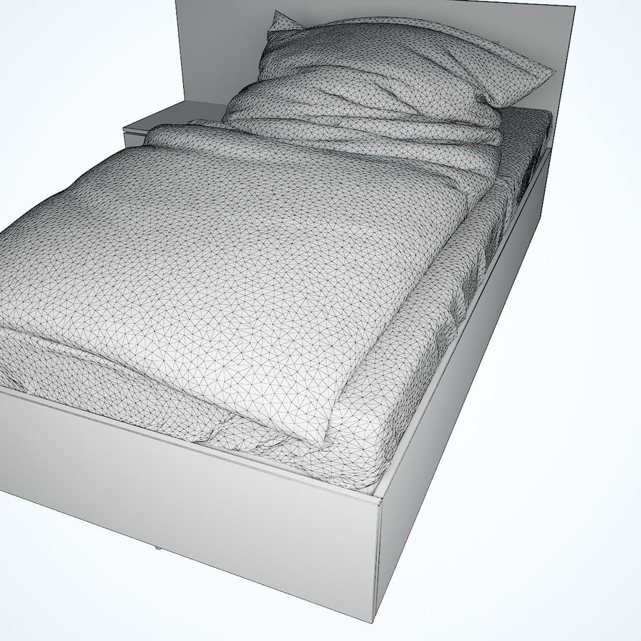Realistic Bed 08 royalty-free 3d model - Preview no. 25