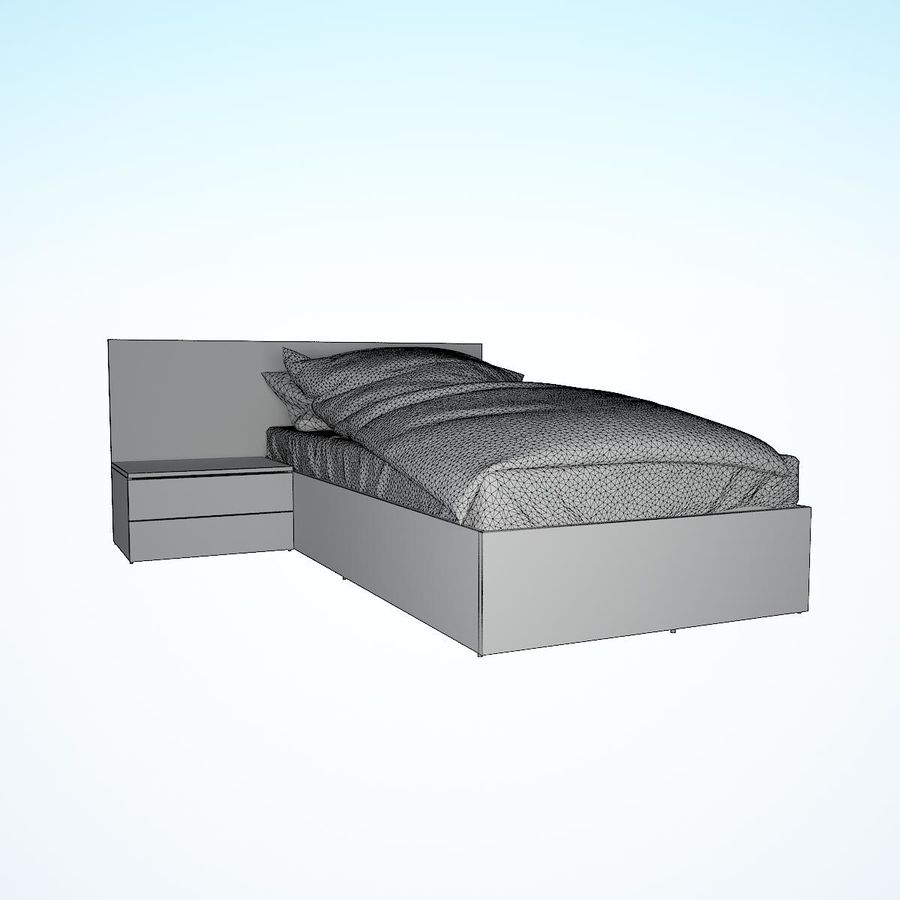 Realistic Bed 08 royalty-free 3d model - Preview no. 21