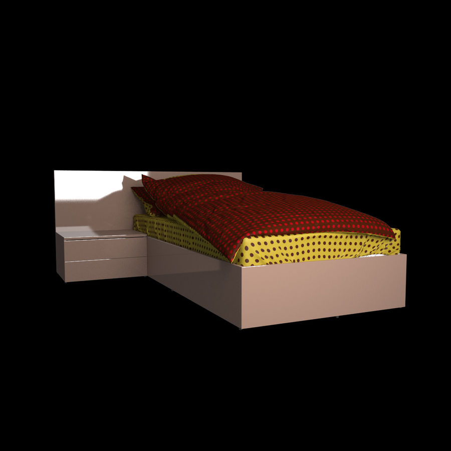 Realistic Bed 08 royalty-free 3d model - Preview no. 2