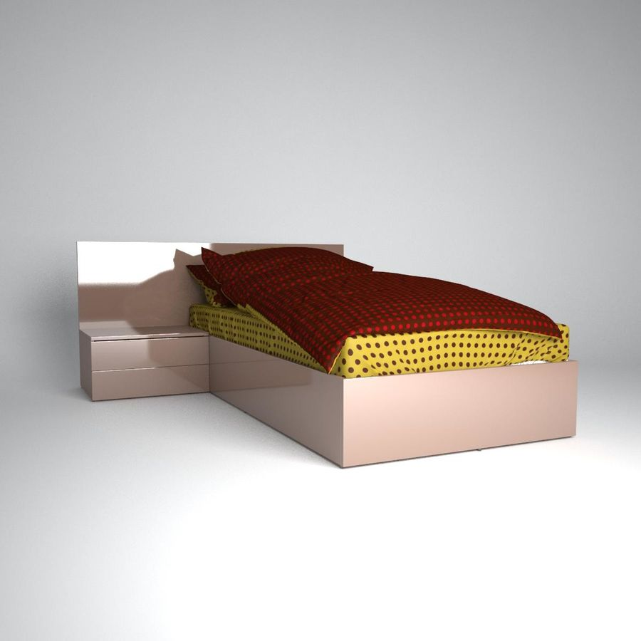 Realistic Bed 08 royalty-free 3d model - Preview no. 3