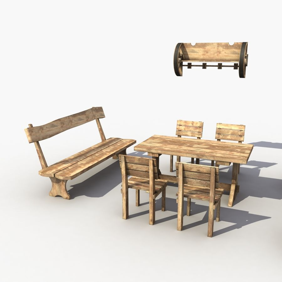 Accessories Vintage Cafe royalty-free 3d model - Preview no. 2
