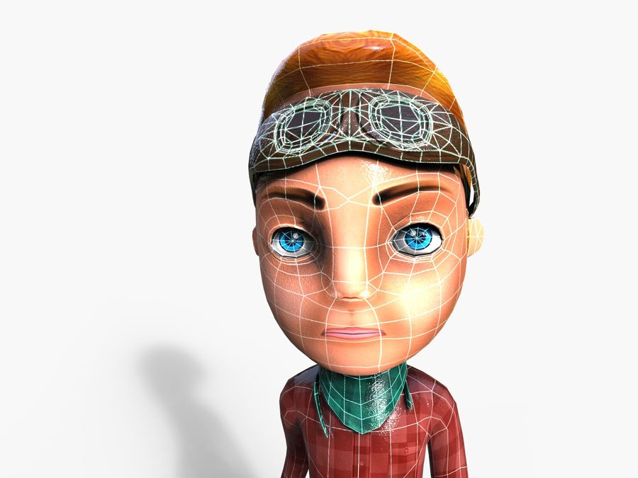 garçon de dessin animé royalty-free 3d model - Preview no. 14