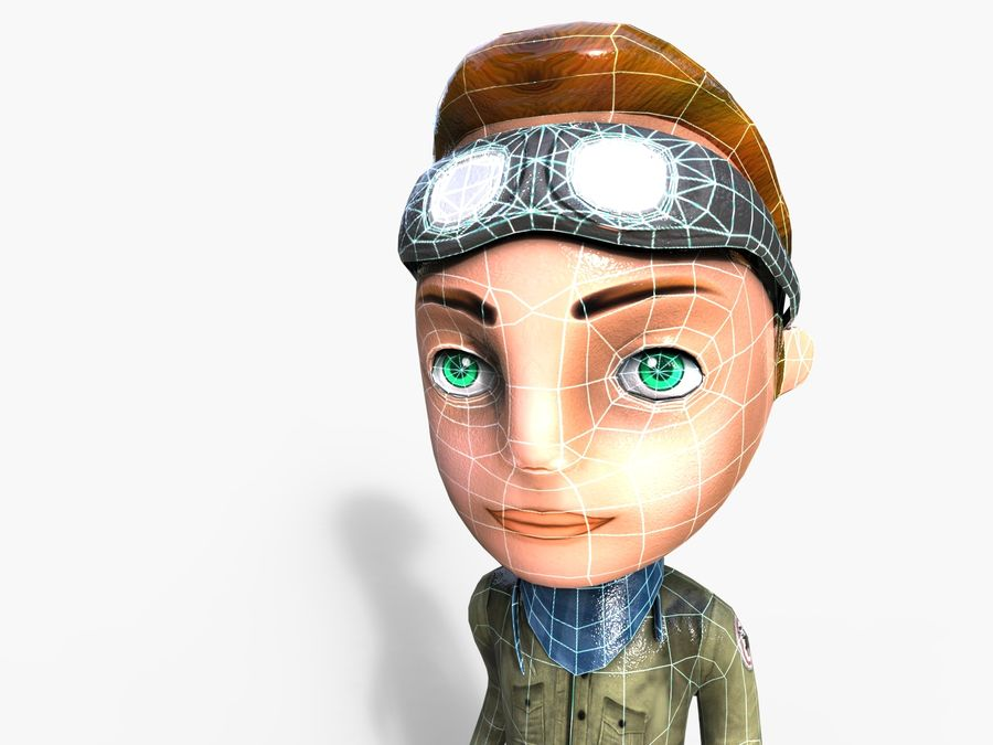 garçon de dessin animé royalty-free 3d model - Preview no. 37