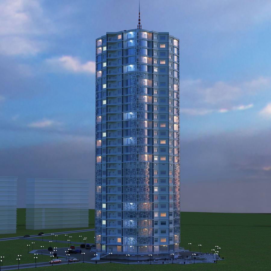 Byggnad med flera våningar royalty-free 3d model - Preview no. 2