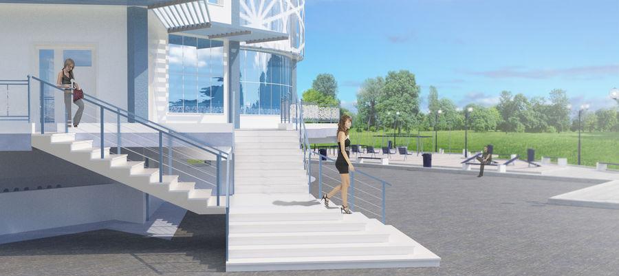 Byggnad med flera våningar royalty-free 3d model - Preview no. 10
