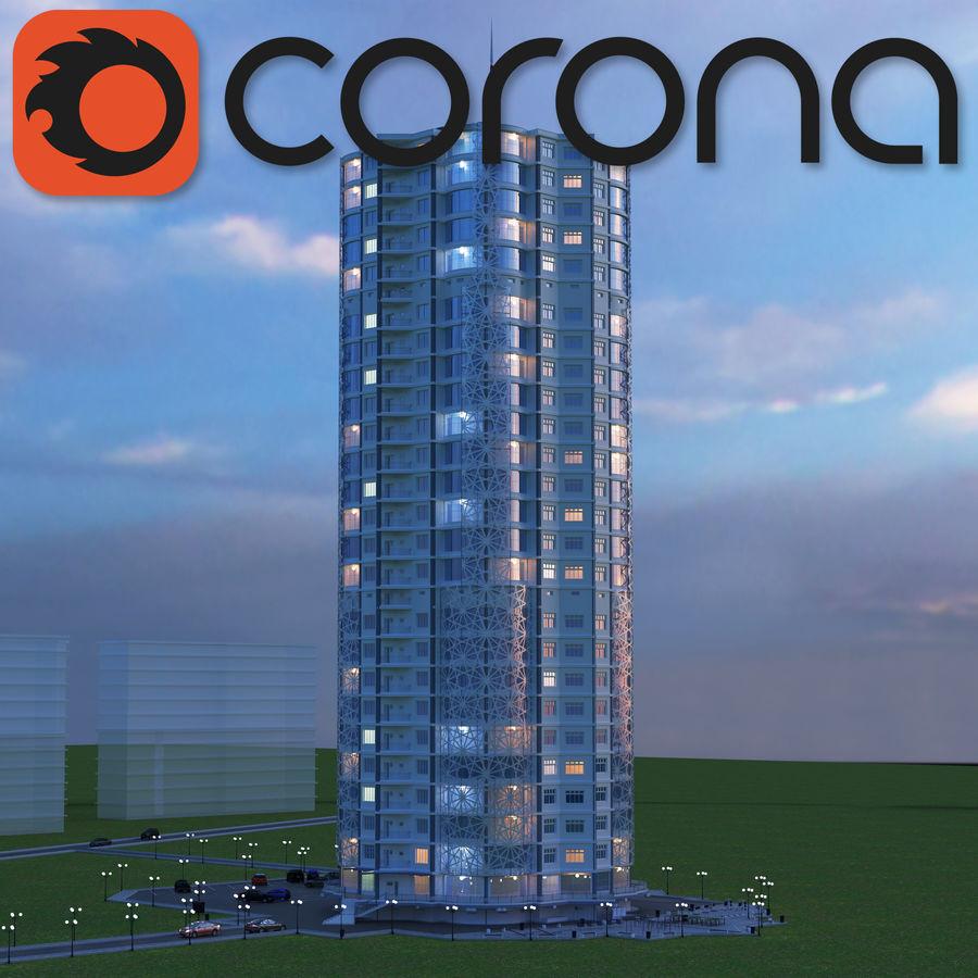 Byggnad med flera våningar royalty-free 3d model - Preview no. 1