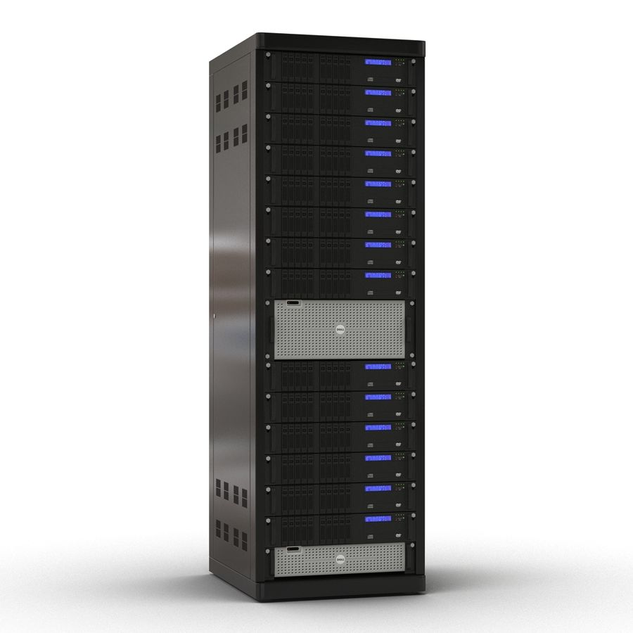 Servers in Rack royalty-free 3d model - Preview no. 3