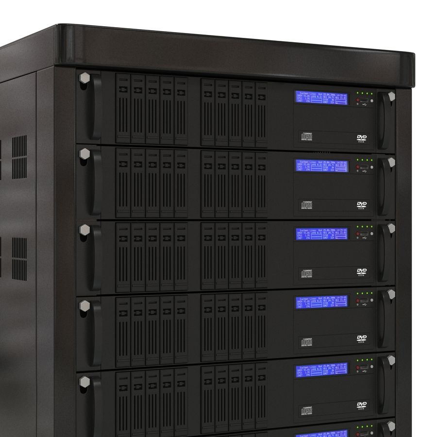 Servers in Rack royalty-free 3d model - Preview no. 9