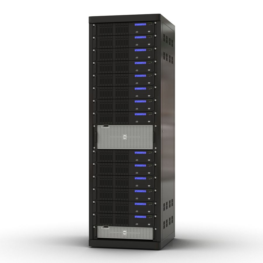Servers in Rack royalty-free 3d model - Preview no. 2