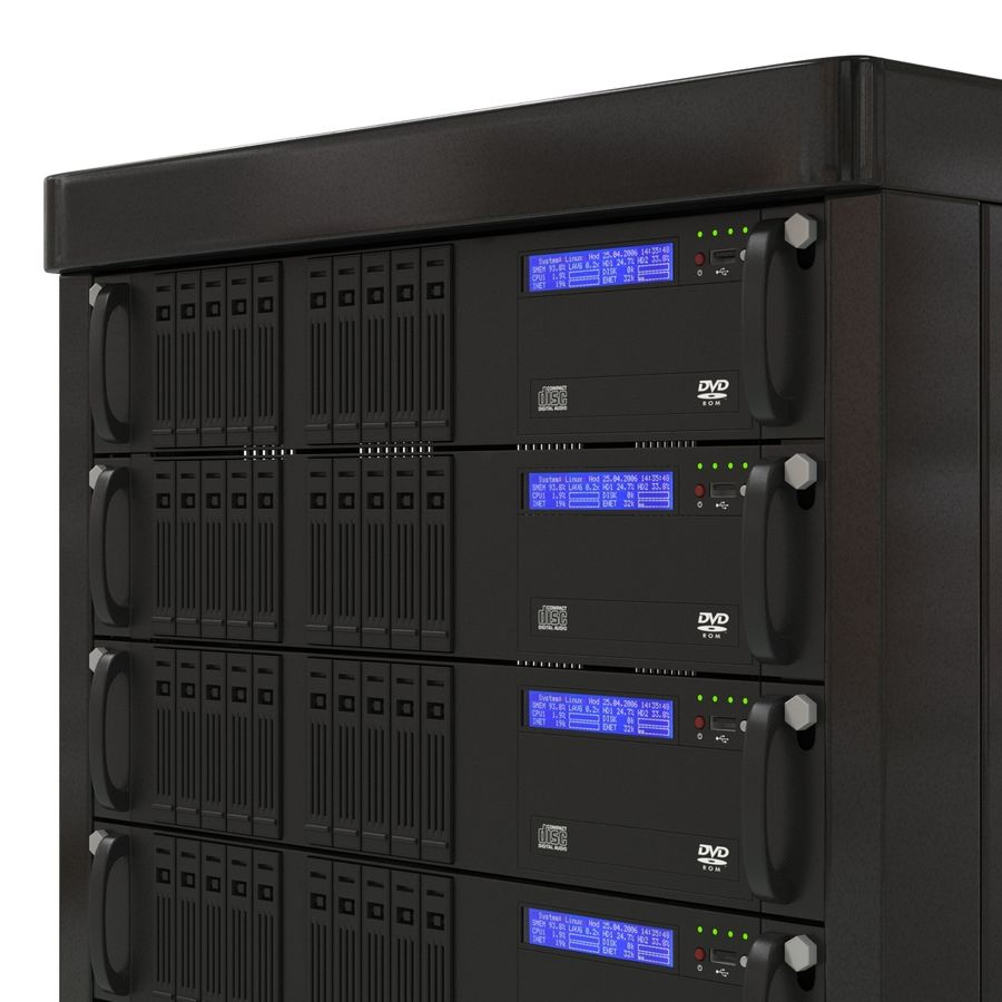 Servers in Rack royalty-free 3d model - Preview no. 10
