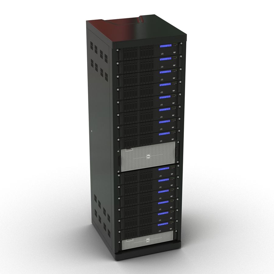 Servers in Rack royalty-free 3d model - Preview no. 5