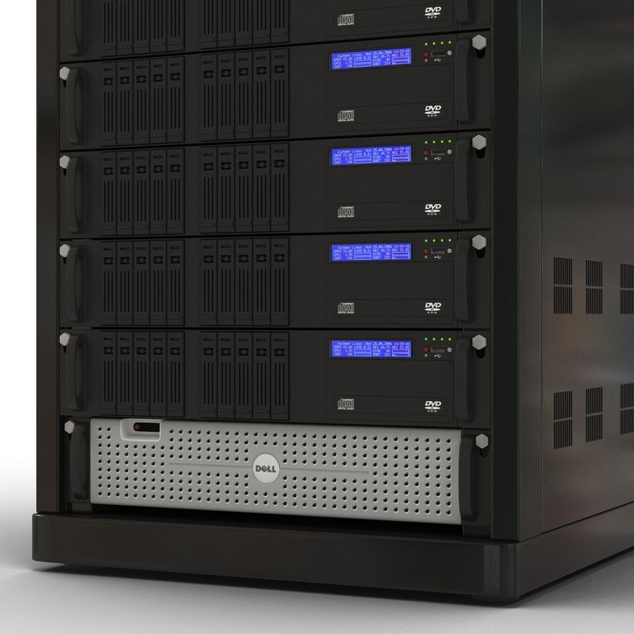 Servers in Rack royalty-free 3d model - Preview no. 11