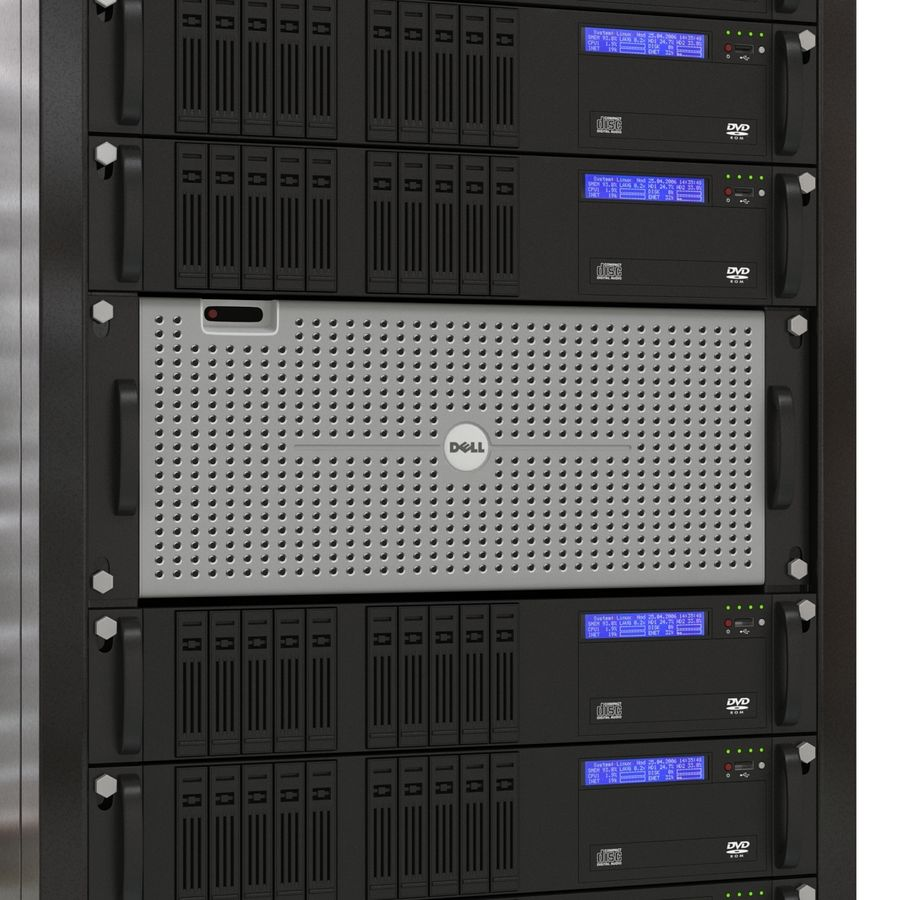 Servers in Rack royalty-free 3d model - Preview no. 12