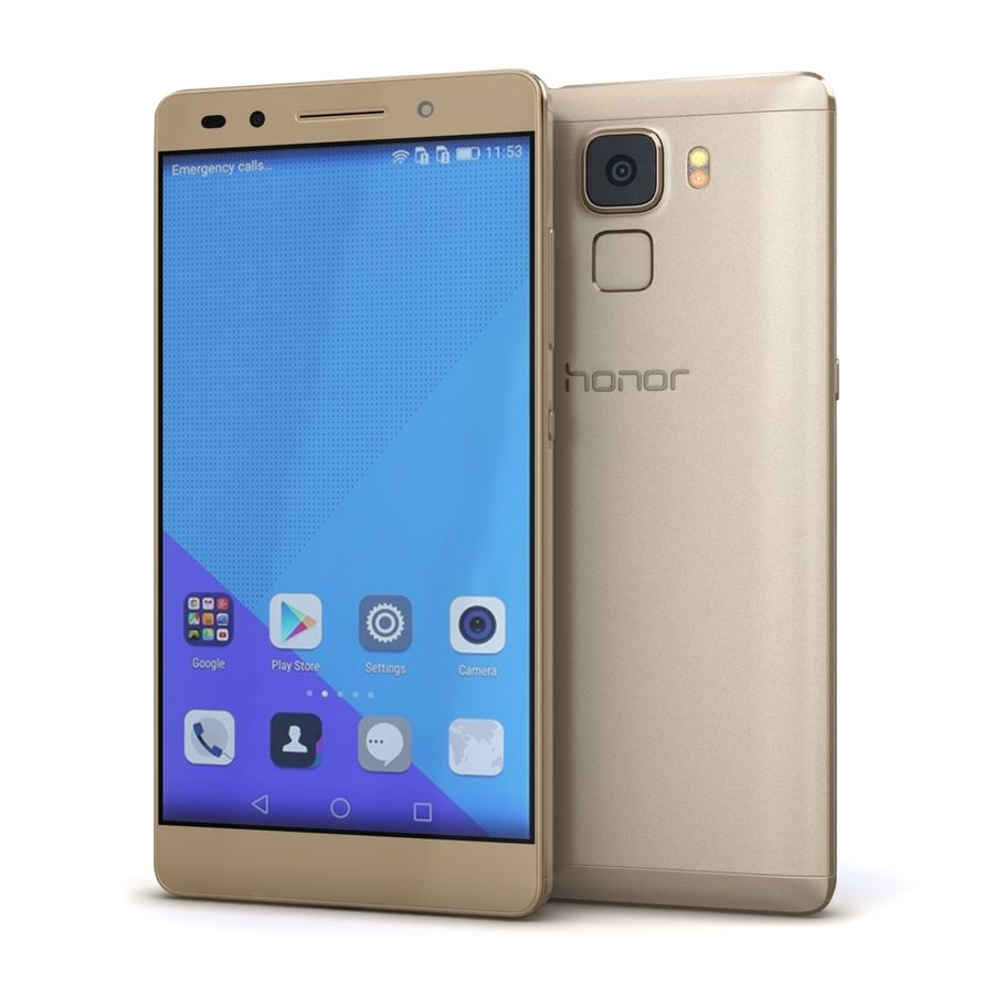 Huawei Honor 7 Gold royalty-free 3d model - Preview no. 2